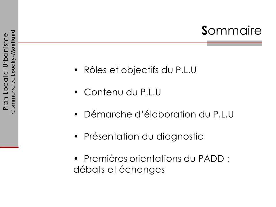 Sommaire Rôles et objectifs du P.L.U Contenu du P.L.U