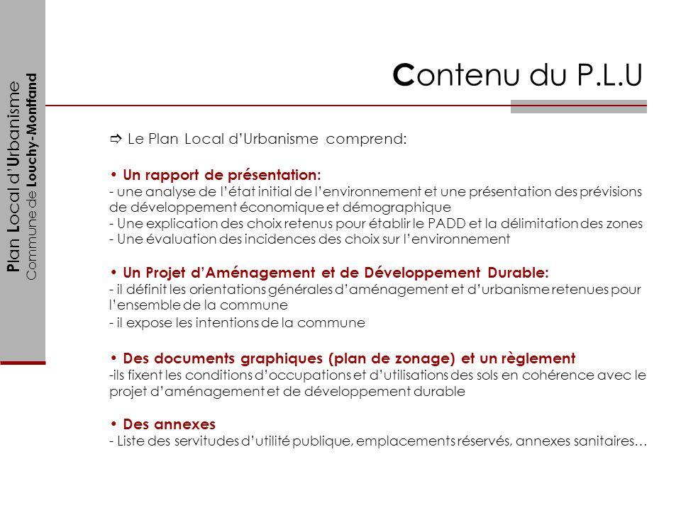 Contenu du P.L.U Le Plan Local d'Urbanisme comprend: