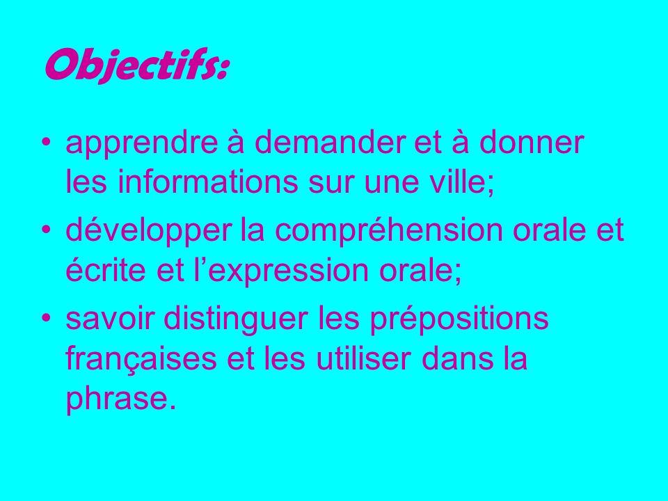 Objectifs: apprendre à demander et à donner les informations sur une ville; développer la compréhension orale et écrite et l'expression orale;
