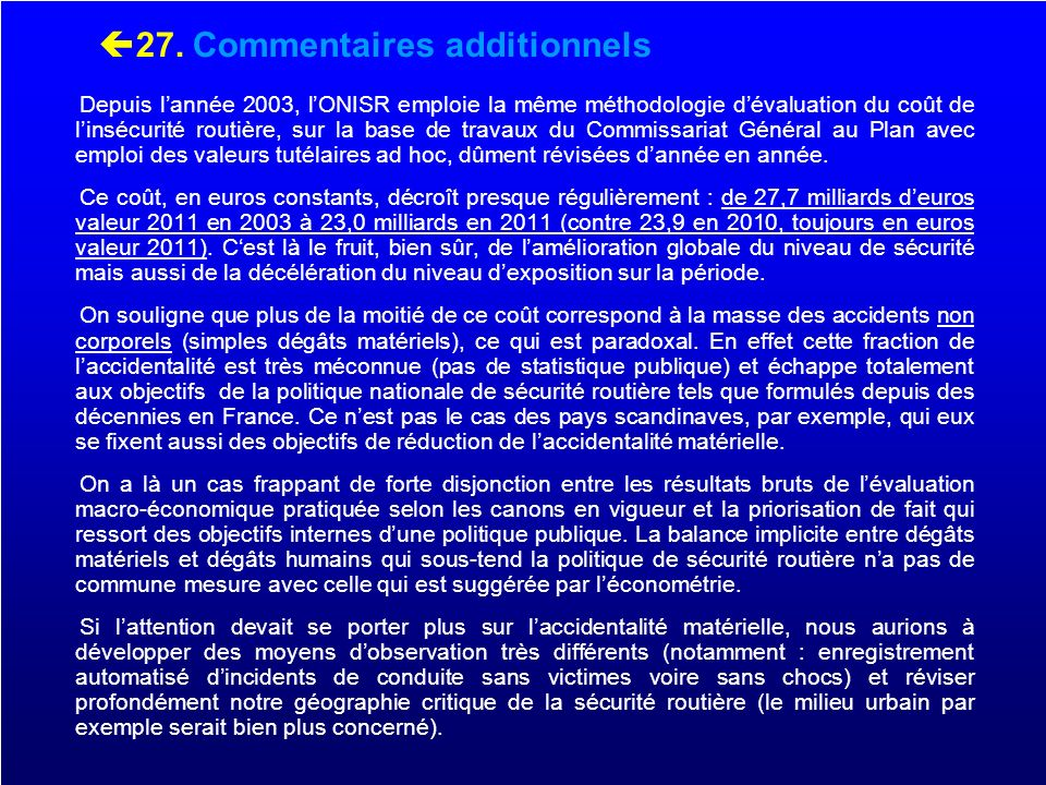 27. Commentaires additionnels