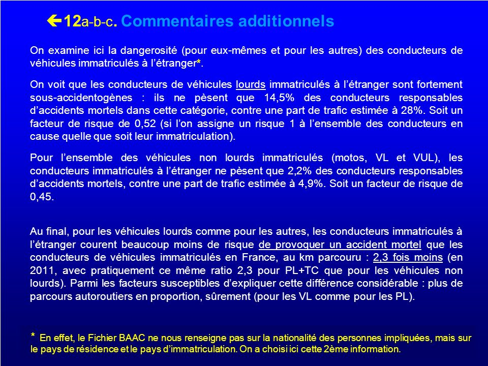 12a-b-c. Commentaires additionnels