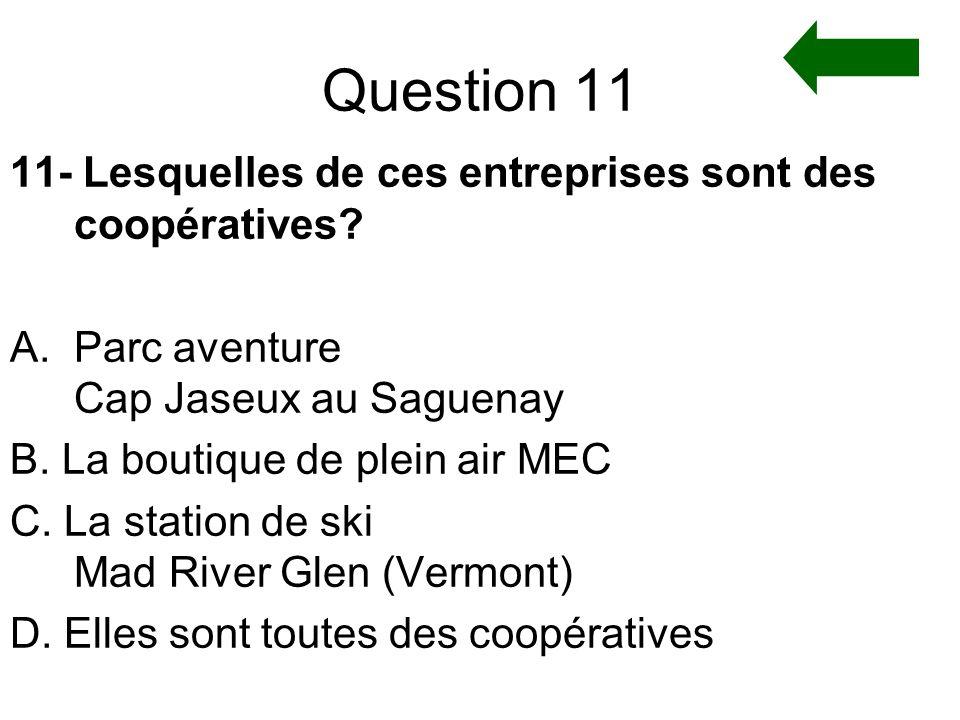Question 11 11- Lesquelles de ces entreprises sont des coopératives