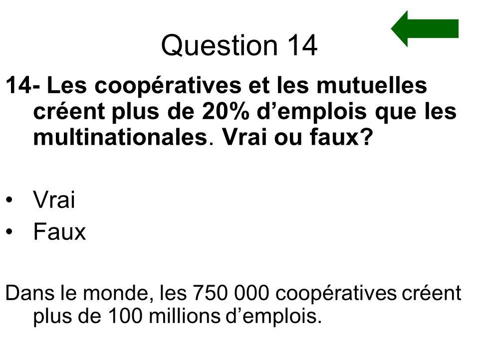 Question 14 14- Les coopératives et les mutuelles créent plus de 20% d'emplois que les multinationales. Vrai ou faux