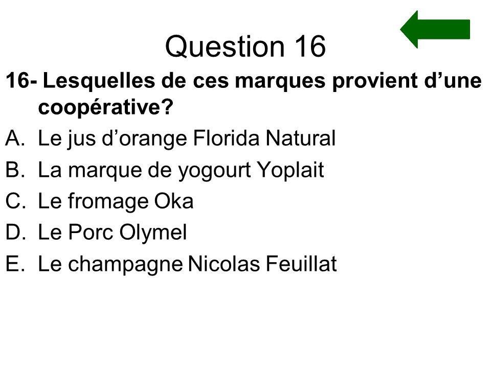 Question 16 16- Lesquelles de ces marques provient d'une coopérative