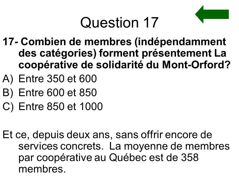 Question 17 17- Combien de membres (indépendamment des catégories) forment présentement La coopérative de solidarité du Mont-Orford