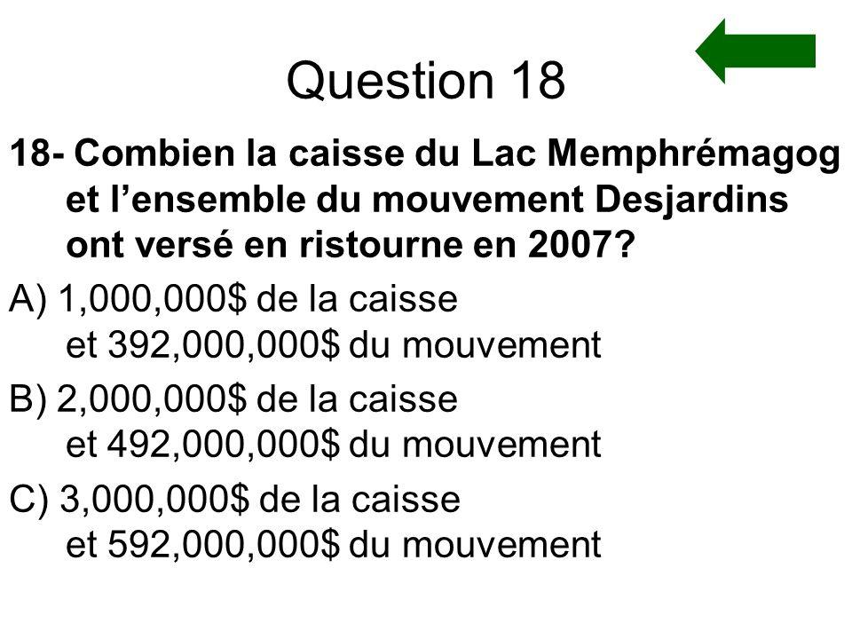 Question 18 18- Combien la caisse du Lac Memphrémagog et l'ensemble du mouvement Desjardins ont versé en ristourne en 2007
