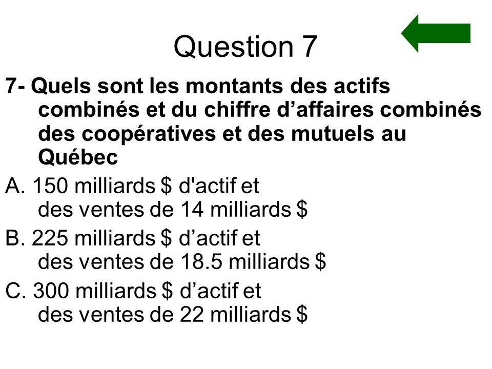 Question 7 7- Quels sont les montants des actifs combinés et du chiffre d'affaires combinés des coopératives et des mutuels au Québec.