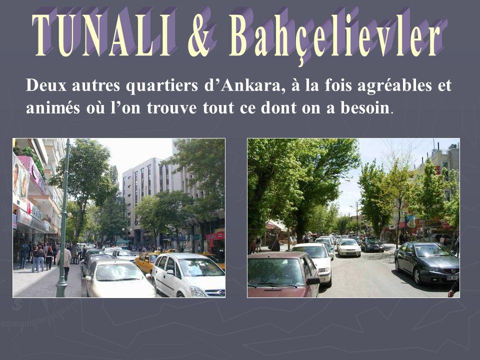 TUNALI & Bahçelievler Deux autres quartiers d'Ankara, à la fois agréables et animés où l'on trouve tout ce dont on a besoin.