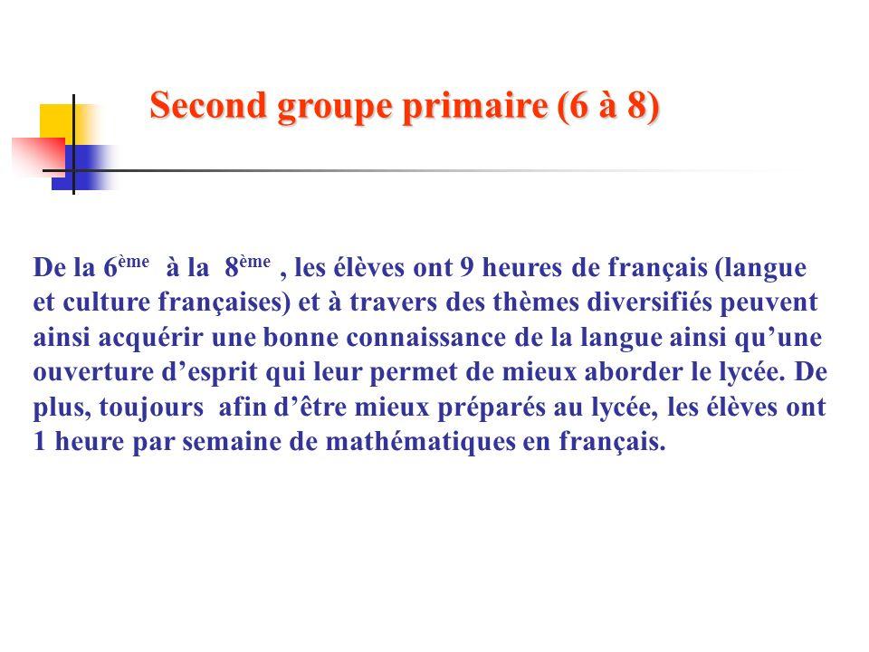 Second groupe primaire (6 à 8)