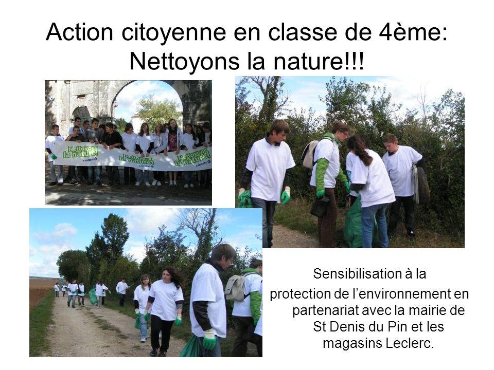 Action citoyenne en classe de 4ème: Nettoyons la nature!!!