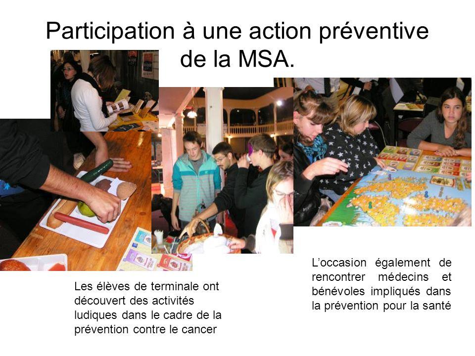 Participation à une action préventive de la MSA.