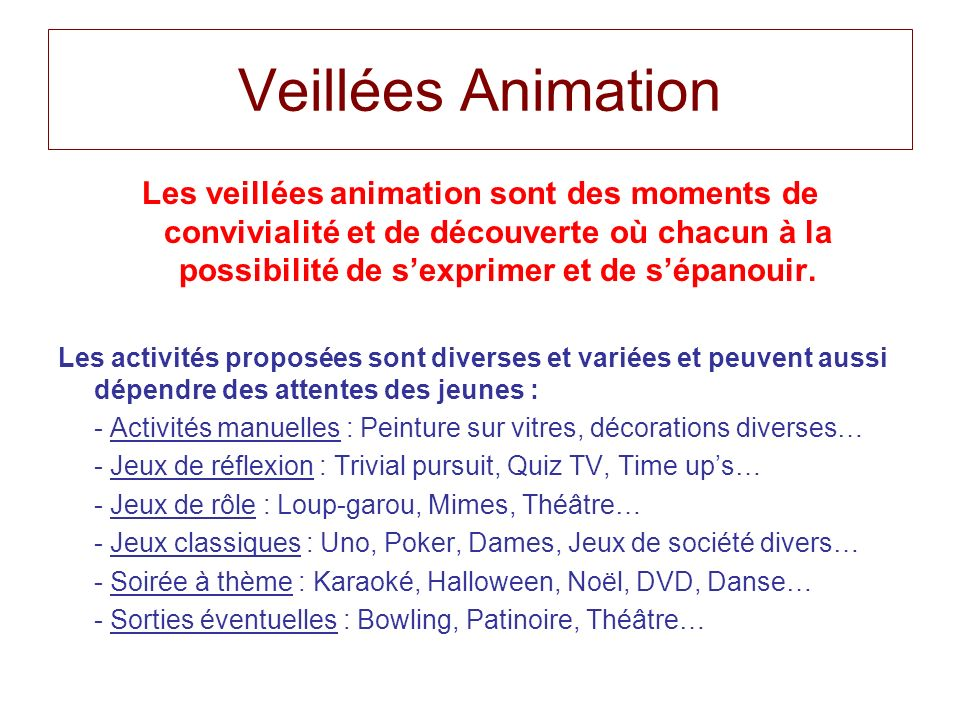 Veillées Animation