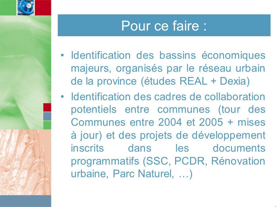 Pour ce faire : Identification des bassins économiques majeurs, organisés par le réseau urbain de la province (études REAL + Dexia)