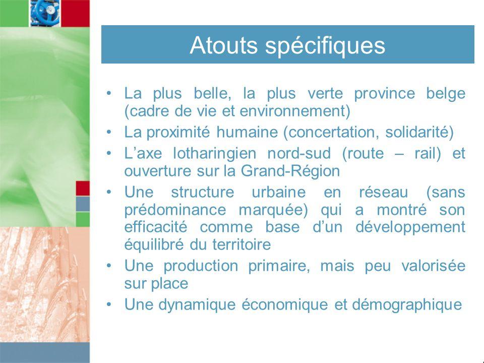 Atouts spécifiques La plus belle, la plus verte province belge (cadre de vie et environnement) La proximité humaine (concertation, solidarité)