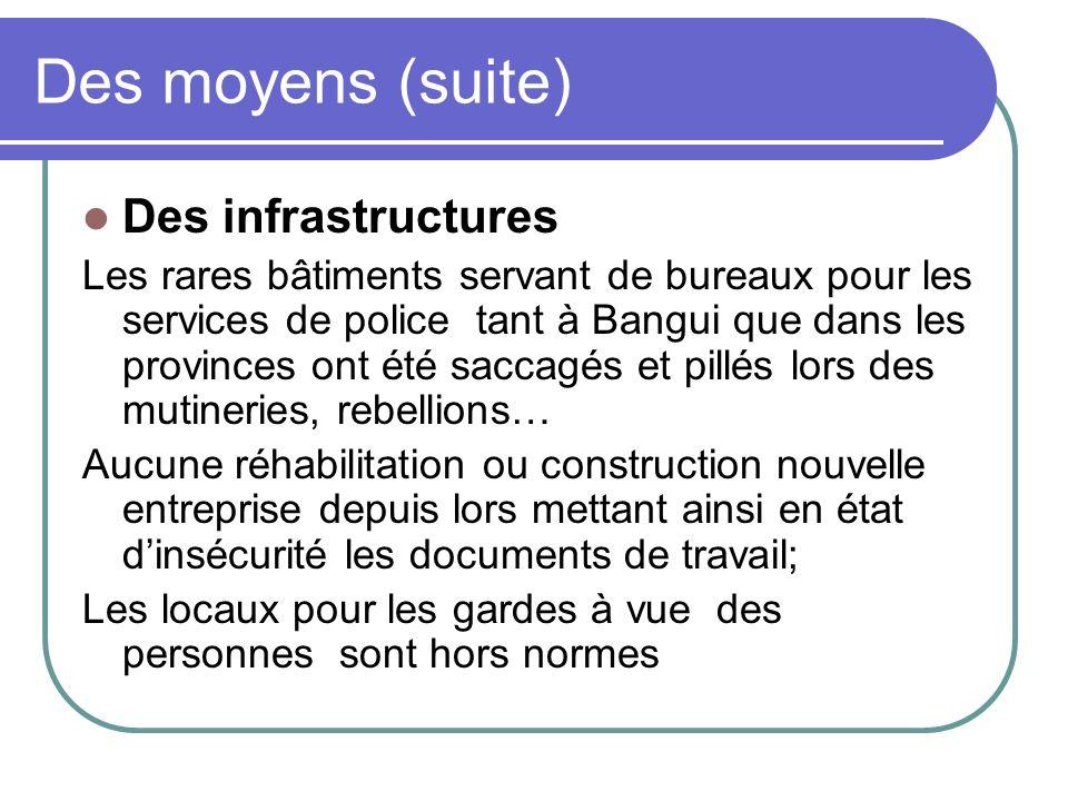 Des moyens (suite) Des infrastructures