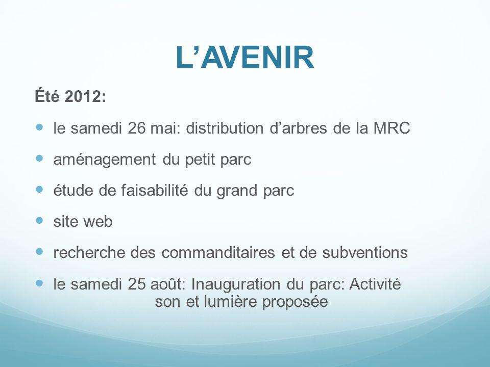 L'AVENIR Été 2012: le samedi 26 mai: distribution d'arbres de la MRC