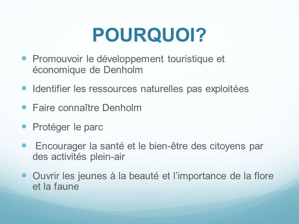 POURQUOI Promouvoir le développement touristique et économique de Denholm. Identifier les ressources naturelles pas exploitées.