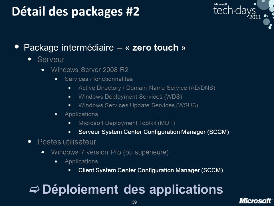 Détail des packages #2 Déploiement des applications