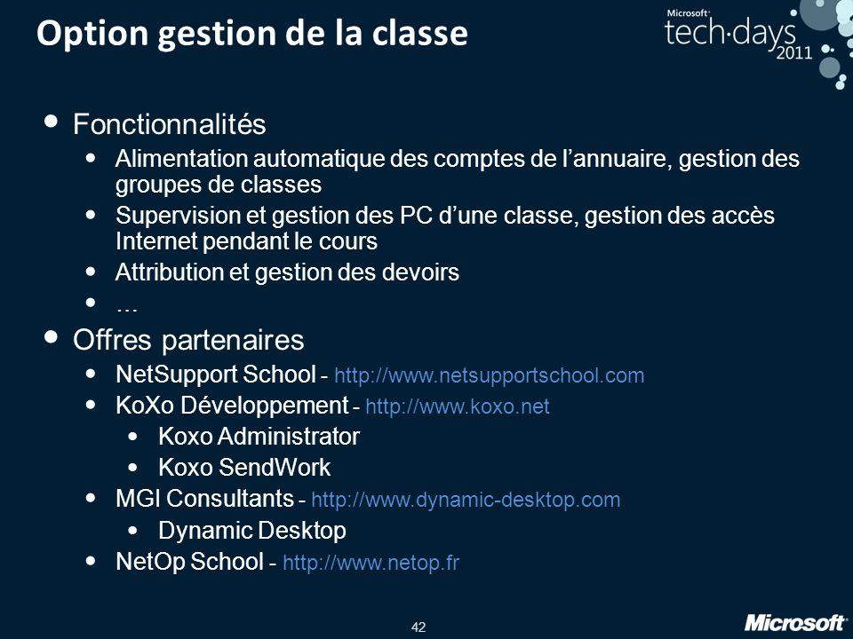Option gestion de la classe