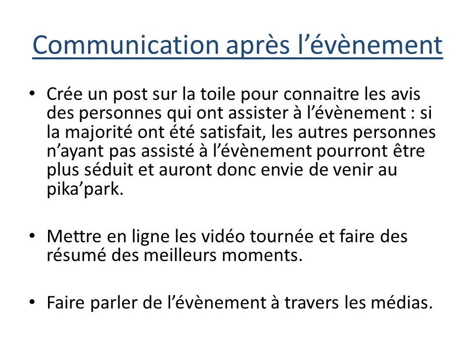 Communication après l'évènement
