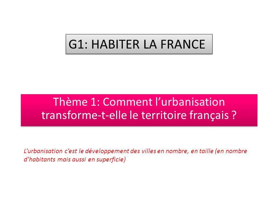G1: HABITER LA FRANCE Thème 1: Comment l'urbanisation transforme-t-elle le territoire français
