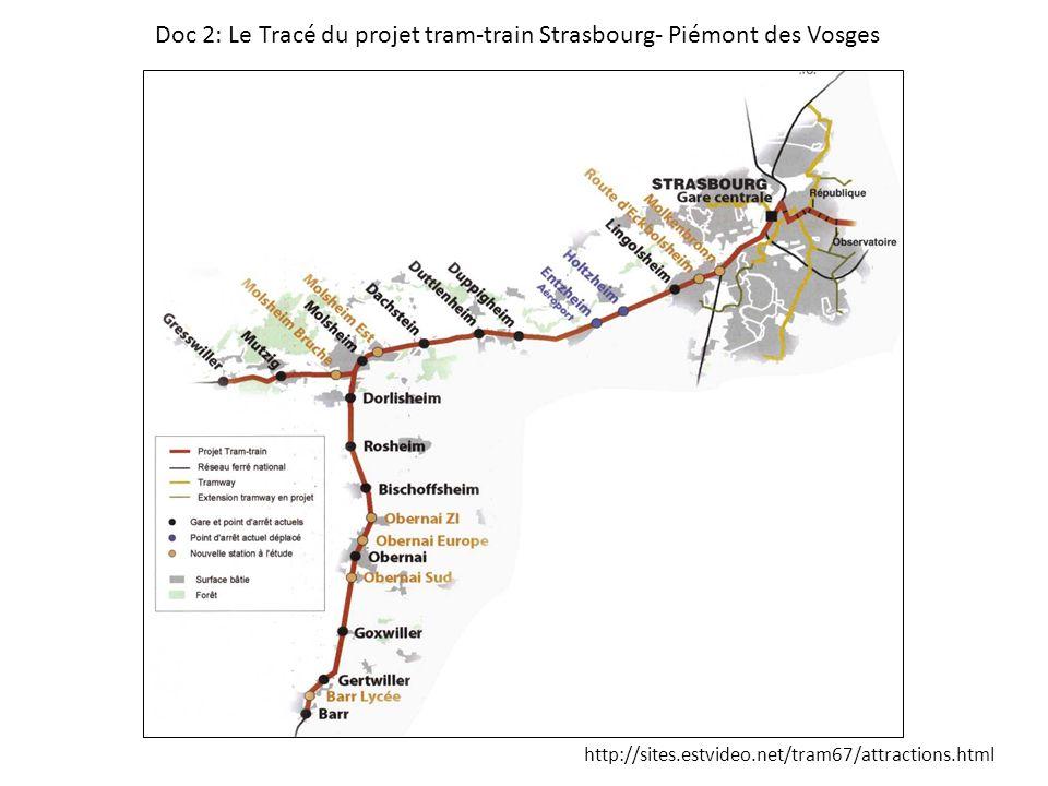 Doc 2: Le Tracé du projet tram-train Strasbourg- Piémont des Vosges