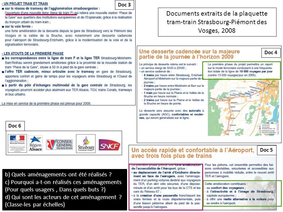 Doc 3 Documents extraits de la plaquette tram-train Strasbourg-Piémont des Vosges, 2008. Doc 4. Doc 6.