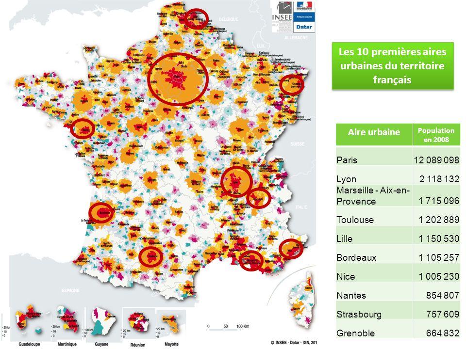 Les 10 premières aires urbaines du territoire français