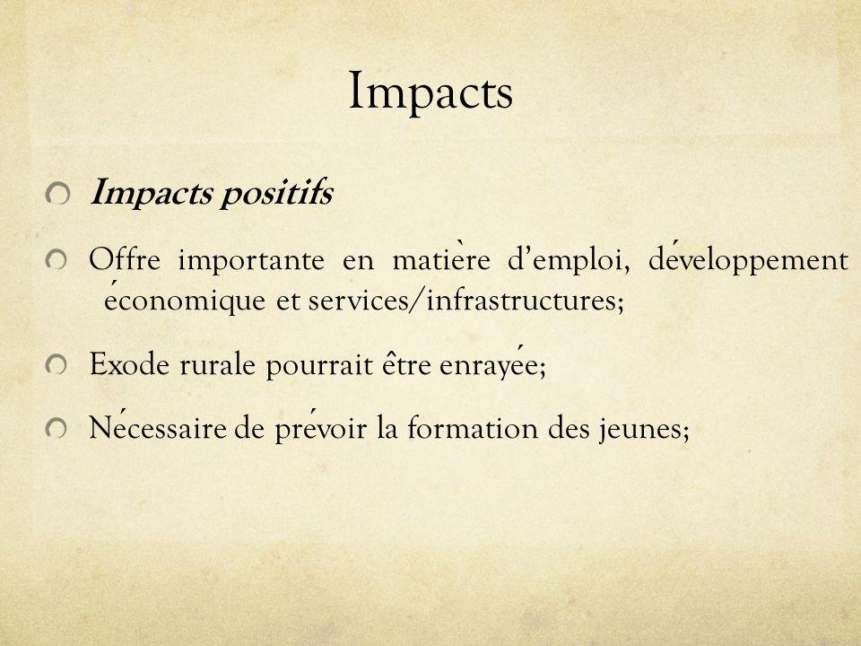 Impacts Impacts positifs