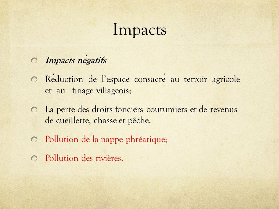 Impacts Impacts négatifs