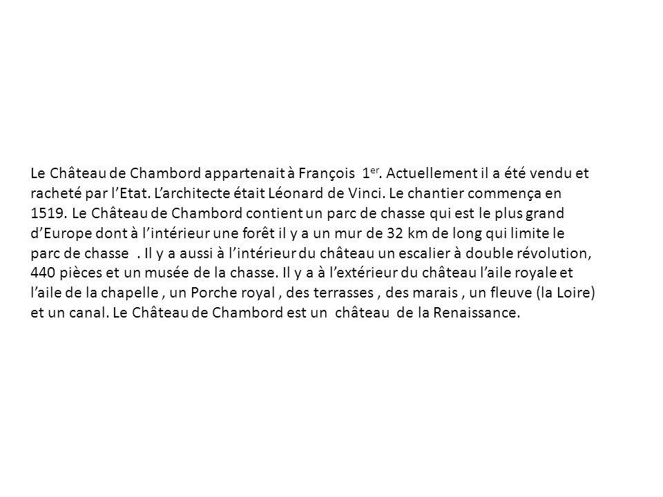 Le Château de Chambord appartenait à François 1er
