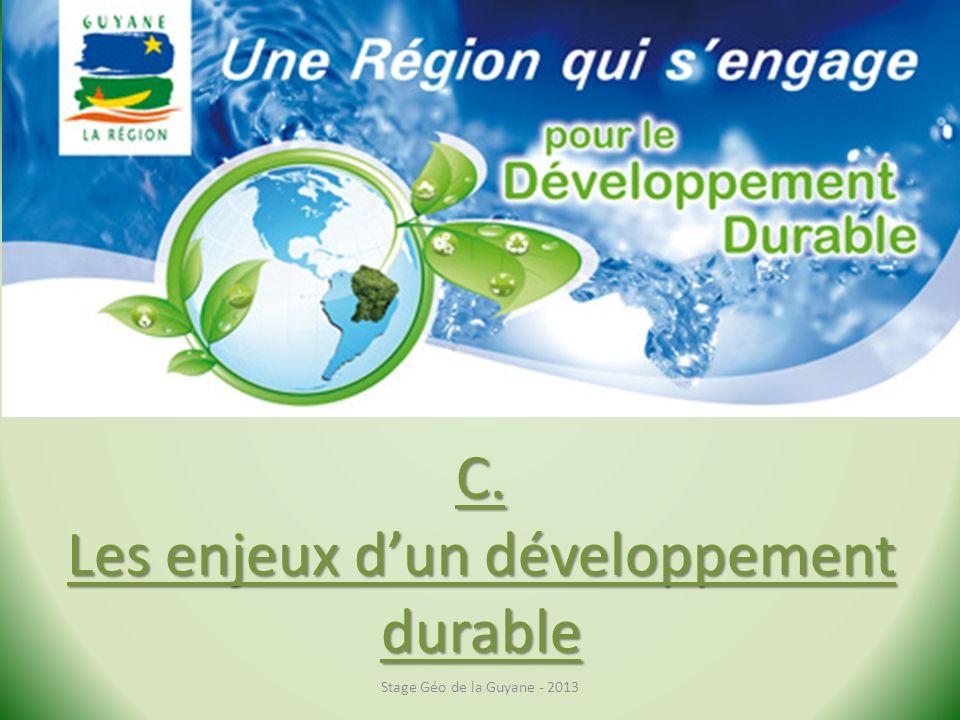 C. Les enjeux d'un développement durable