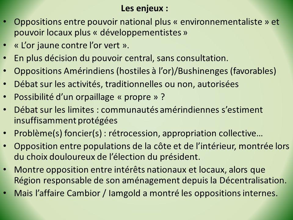 Les enjeux : Oppositions entre pouvoir national plus « environnementaliste » et pouvoir locaux plus « développementistes »