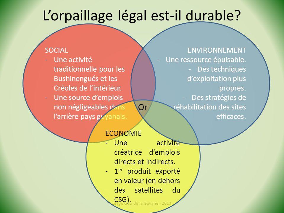 L'orpaillage légal est-il durable