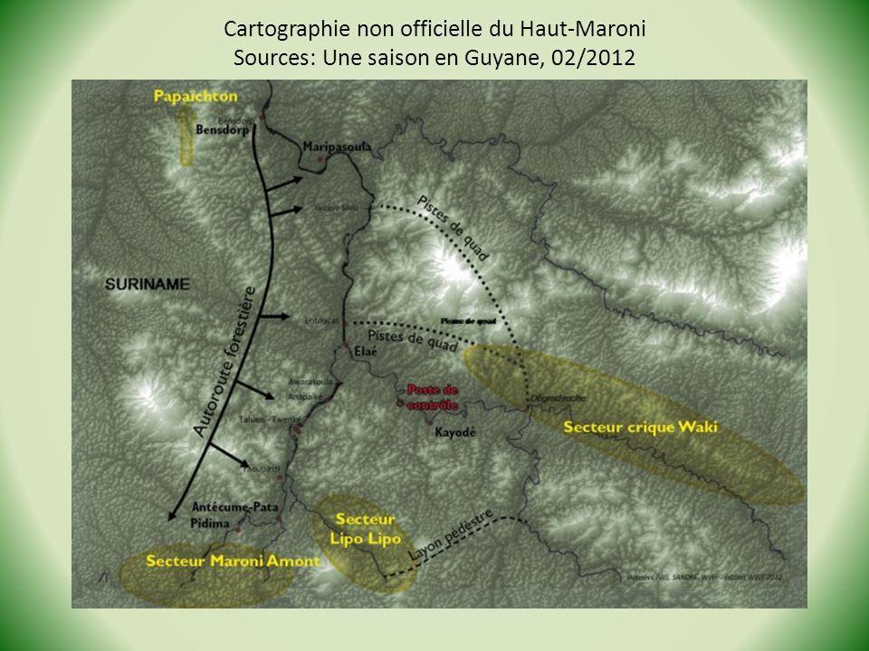 Cartographie non officielle du Haut-Maroni Sources: Une saison en Guyane, 02/2012