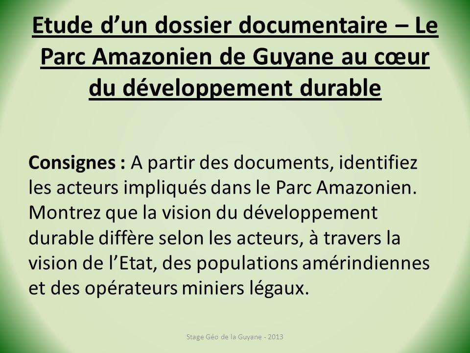 Etude d'un dossier documentaire – Le Parc Amazonien de Guyane au cœur du développement durable