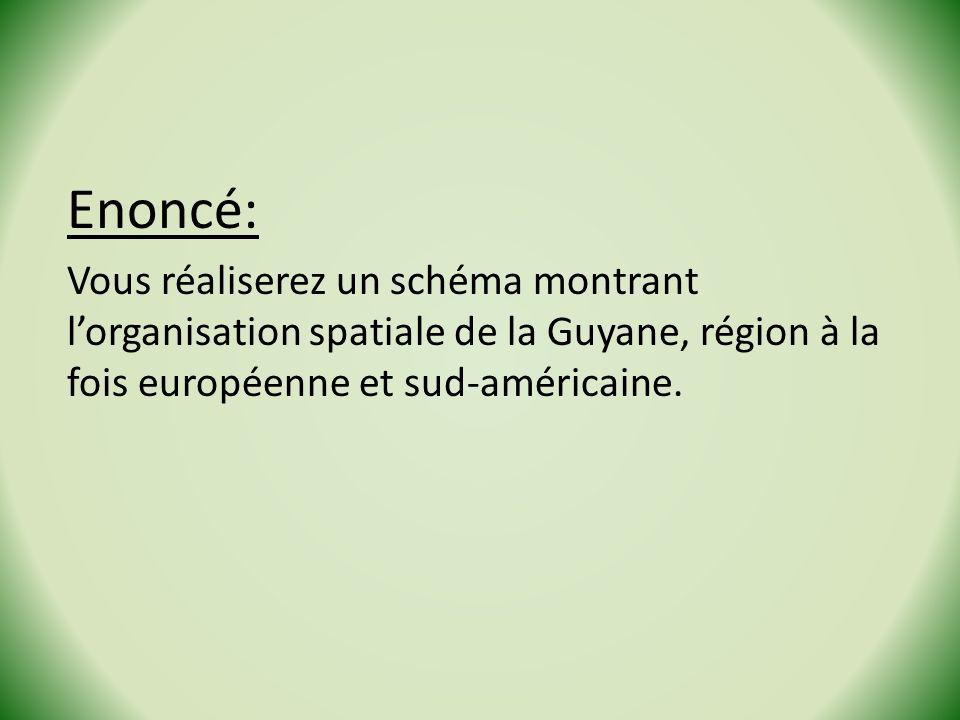 Enoncé: Vous réaliserez un schéma montrant l'organisation spatiale de la Guyane, région à la fois européenne et sud-américaine.