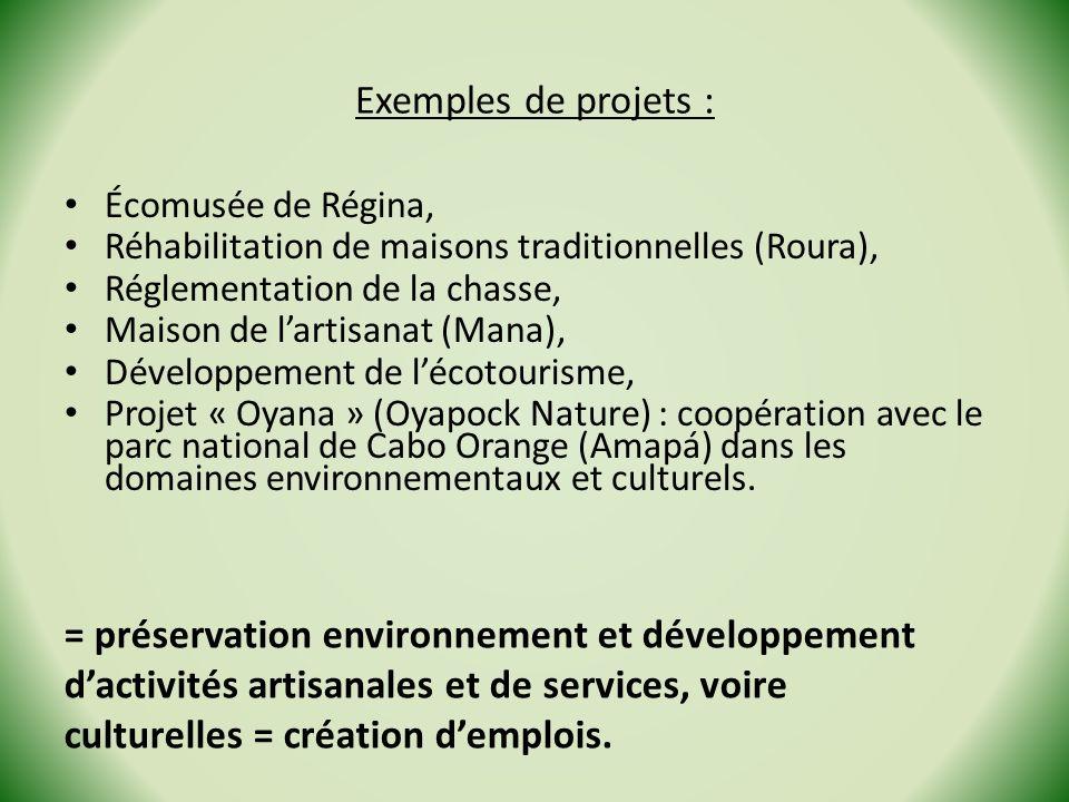 Exemples de projets : Écomusée de Régina, Réhabilitation de maisons traditionnelles (Roura), Réglementation de la chasse,