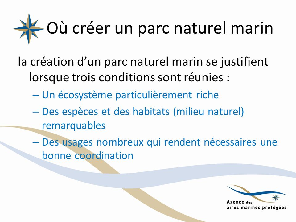 Où créer un parc naturel marin