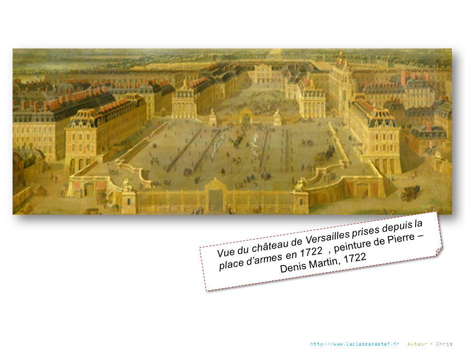 Vue du château de Versailles prises depuis la place d'armes en 1722 , peinture de Pierre – Denis Martin, 1722