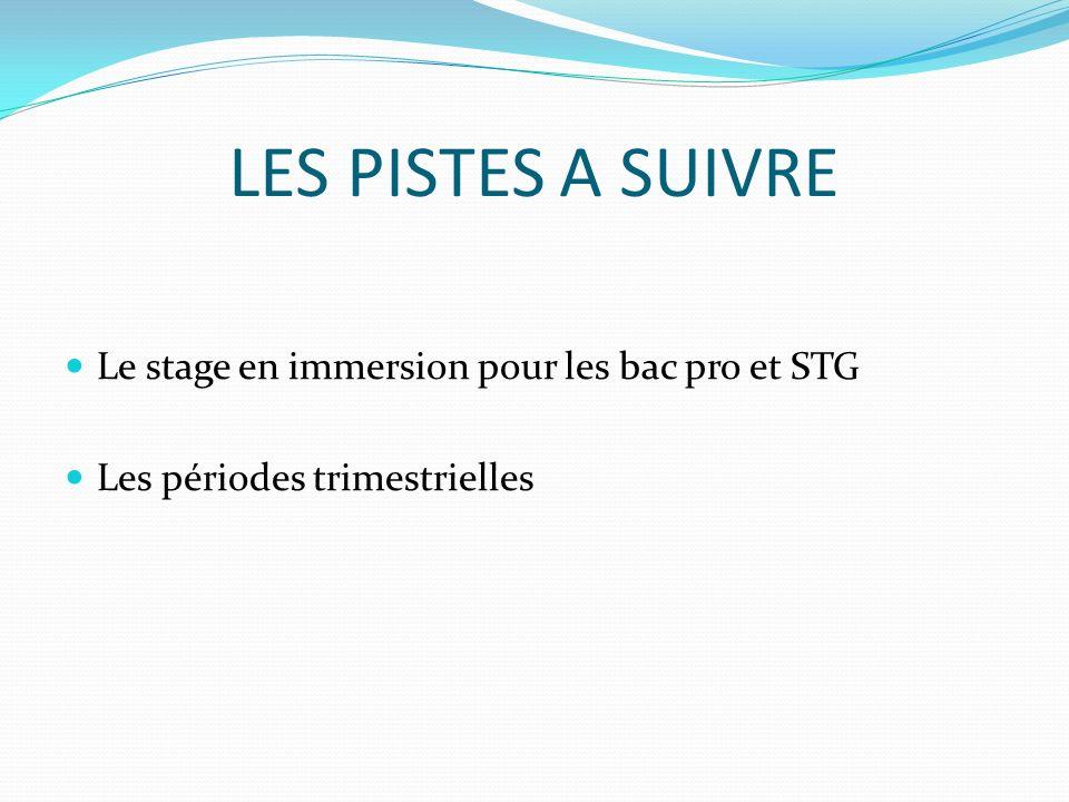 LES PISTES A SUIVRE Le stage en immersion pour les bac pro et STG