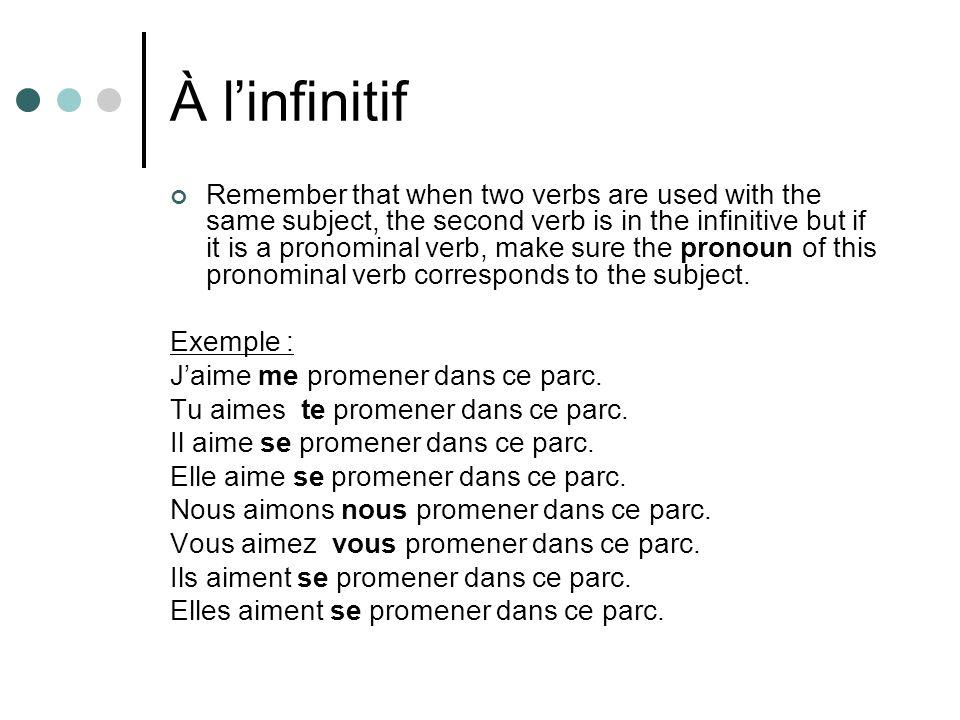 À l'infinitif