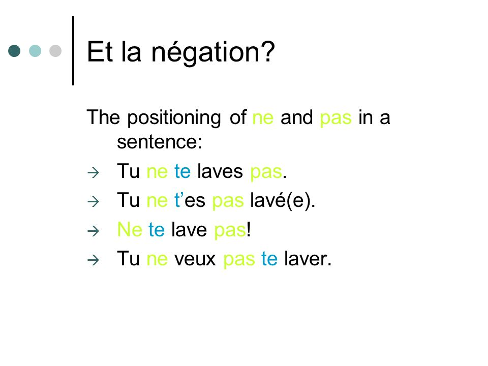 Et la négation The positioning of ne and pas in a sentence: