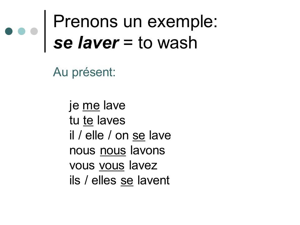 Prenons un exemple: se laver = to wash