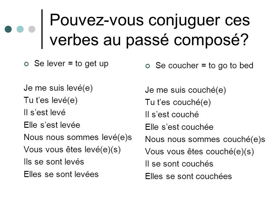Pouvez-vous conjuguer ces verbes au passé composé