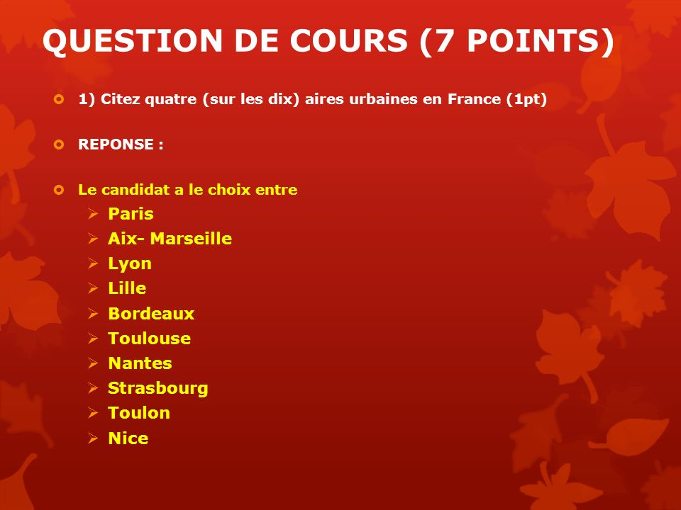 QUESTION DE COURS (7 POINTS)