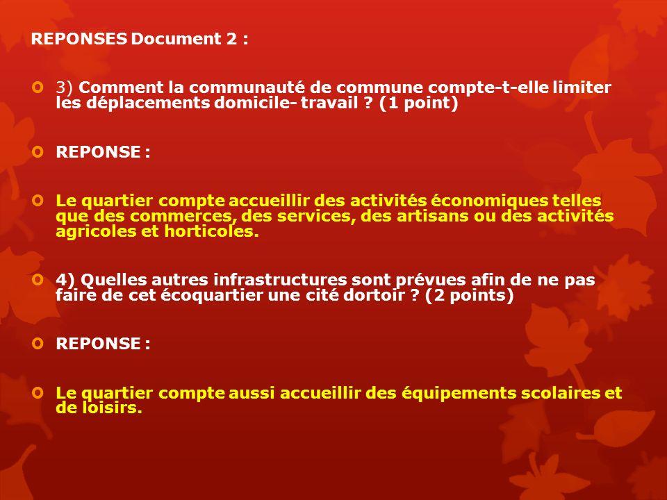 REPONSES Document 2 : 3) Comment la communauté de commune compte-t-elle limiter les déplacements domicile- travail (1 point)