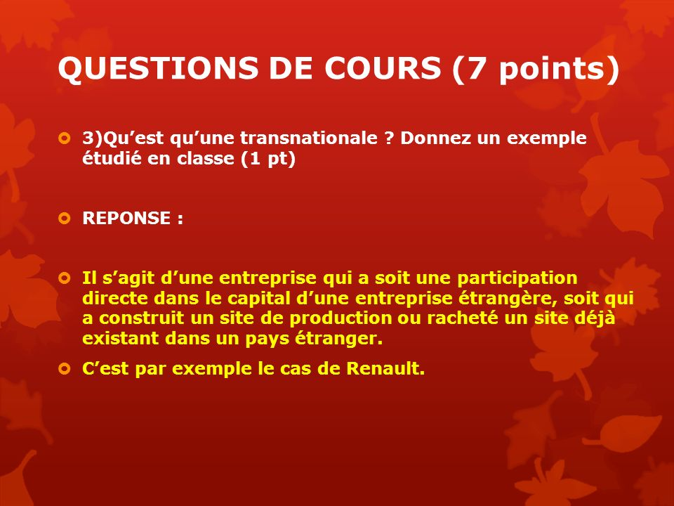 QUESTIONS DE COURS (7 points)