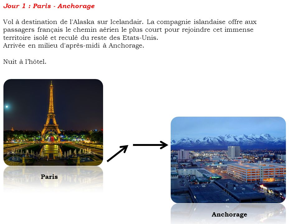 Jour 1 : Paris - Anchorage