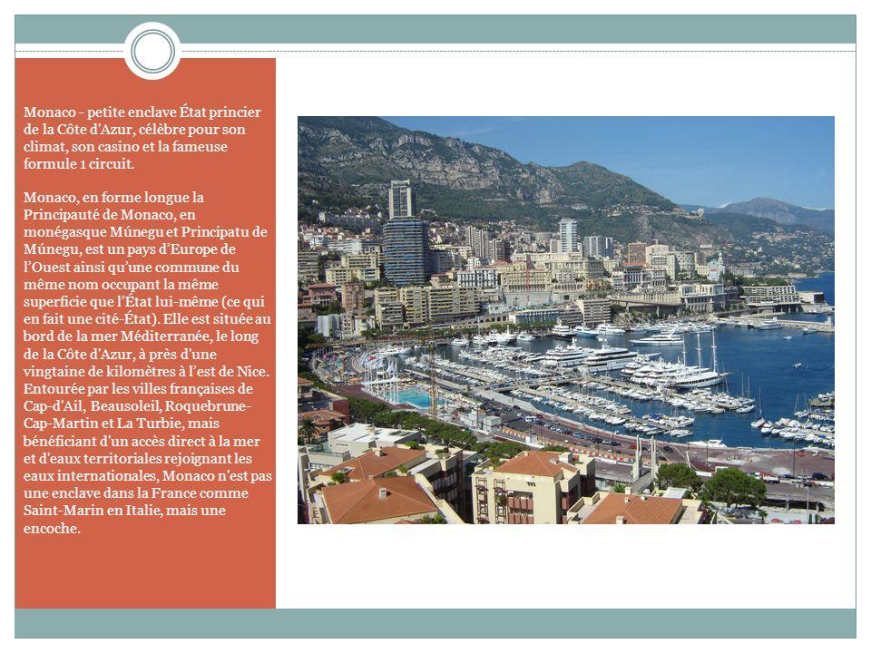 Monaco - petite enclave État princier de la Côte d Azur, célèbre pour son climat, son casino et la fameuse formule 1 circuit.